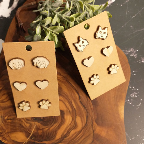 Post Earrings-Cats & Dogs (any set of 3)