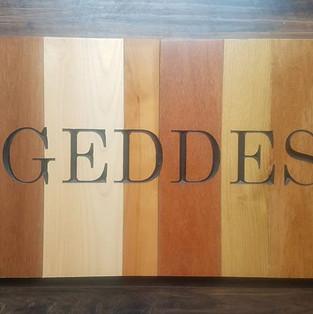 Scrap Hardwood floor family name carve