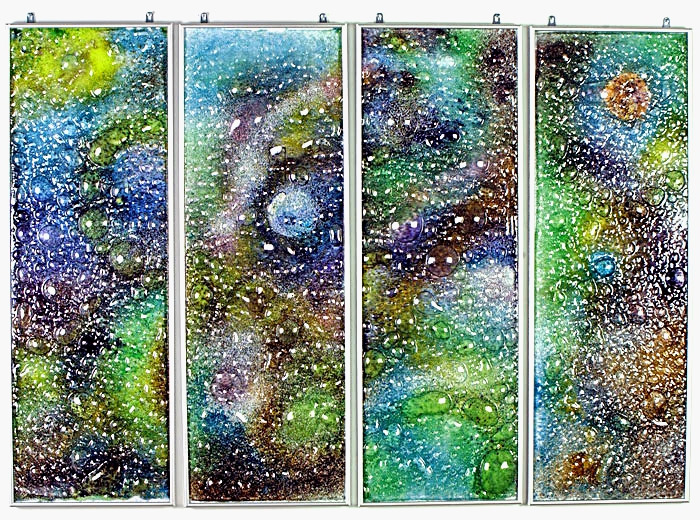 Cosmos Quartet glass wall art panels - G
