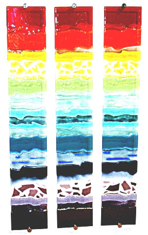 Rainbow Strata Triptych II glass wall ar