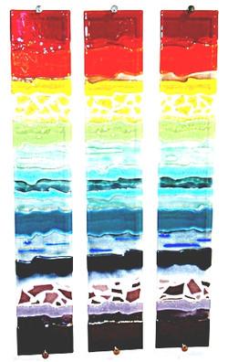 Rainbow Strata Triptych II glass wall ar