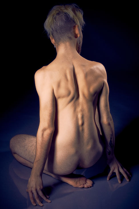 Artisic nude study of back and spine, fine art