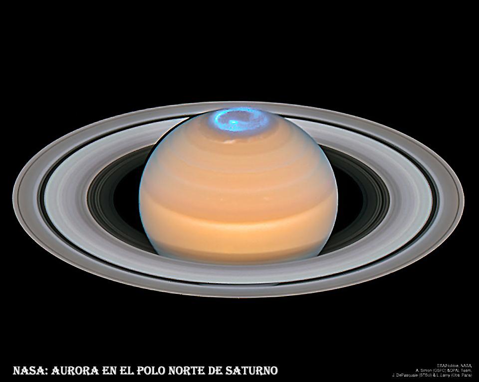 Aurora en el polo norte de saturno