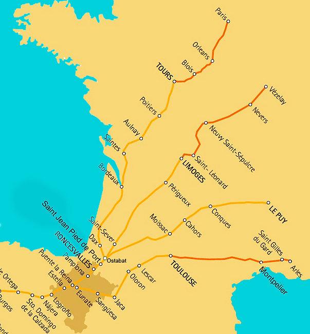 Mapa de los caminos de Santiago en Franc