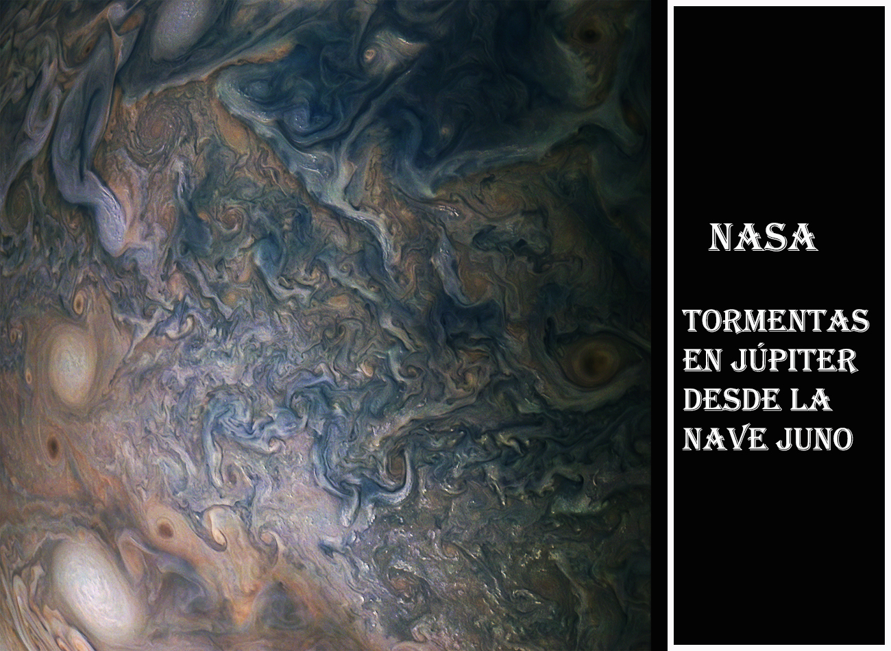 NASA-Tormentas en Jupiter desde nave Jun