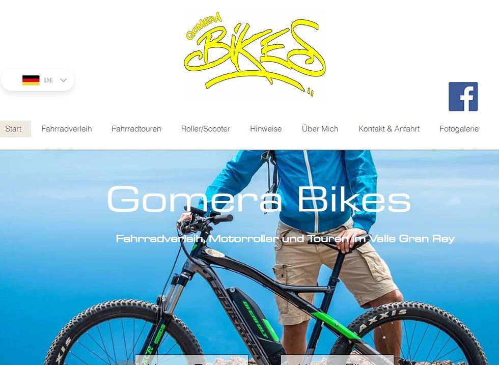 Wix-Website Beispiel von Gomera Bikes