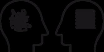 Grafik zwei Koepfe sprechen miteinander