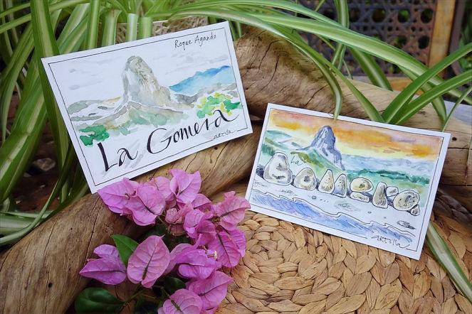 Selbst gemalte Postkarten mit dem Motiv La Gomera