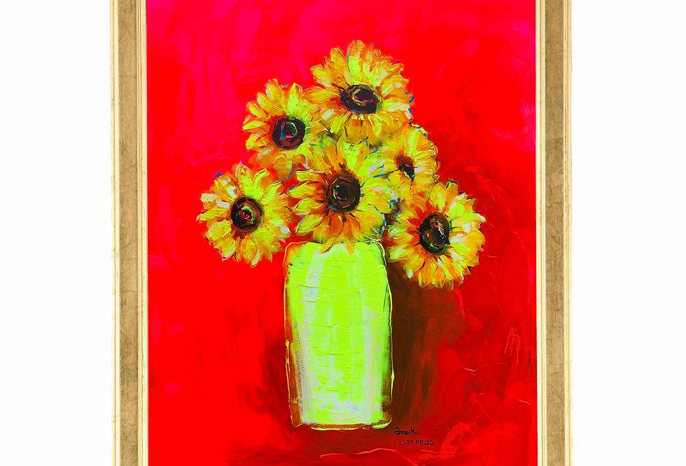 Sunflower in fluorescent pink