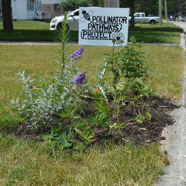 Private Garden With Pollinator Pathways Sign