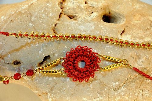 שרשרת/צמיד פרח אדום