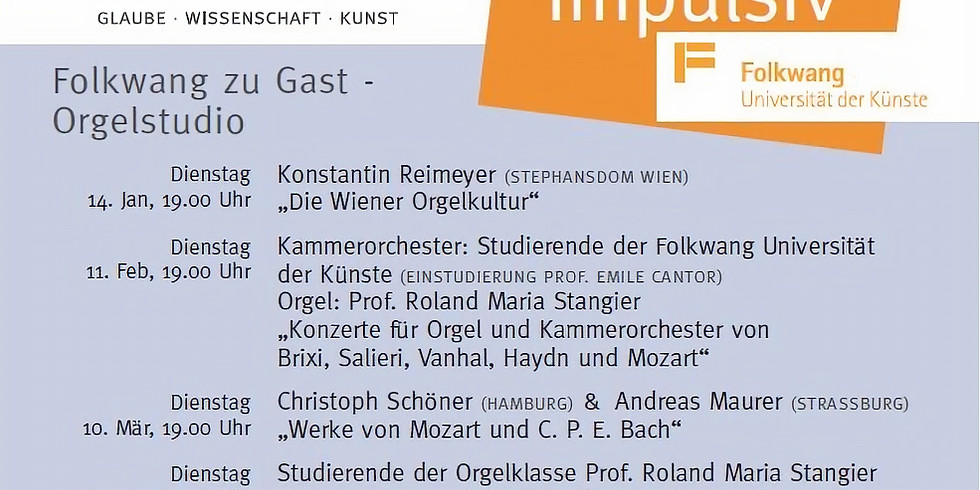 Folkwang zu Gast – Orgelstudio – Beethoven impulsiv 5 13. Apr 18.00 Uhr