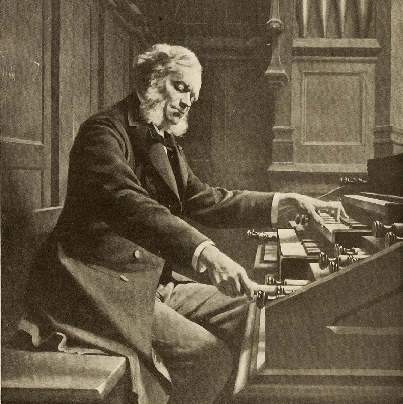 César Franck at the console of the organ at St. Clotilde Basilica, Paris 1885; Gemälde: Jeanne Rongier; Foto: Braun & Co; Wikipedia gemeinfrei