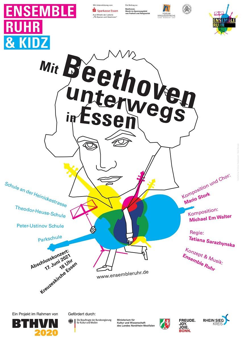 Plakat Ensemble Ruhr & KIDZ  – Mit Beethoven unterwegs in Essen – Beethoven partizipativ