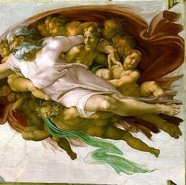 Michelangelo Buonarroti: Die Erschaffung Adams (Ausschnitt), ca. 1511, Quelle: Wikimedia Commons, Gemeinfrei.