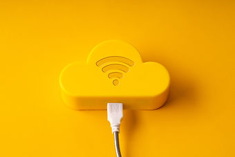 Cloud technology icon on colorful & crea