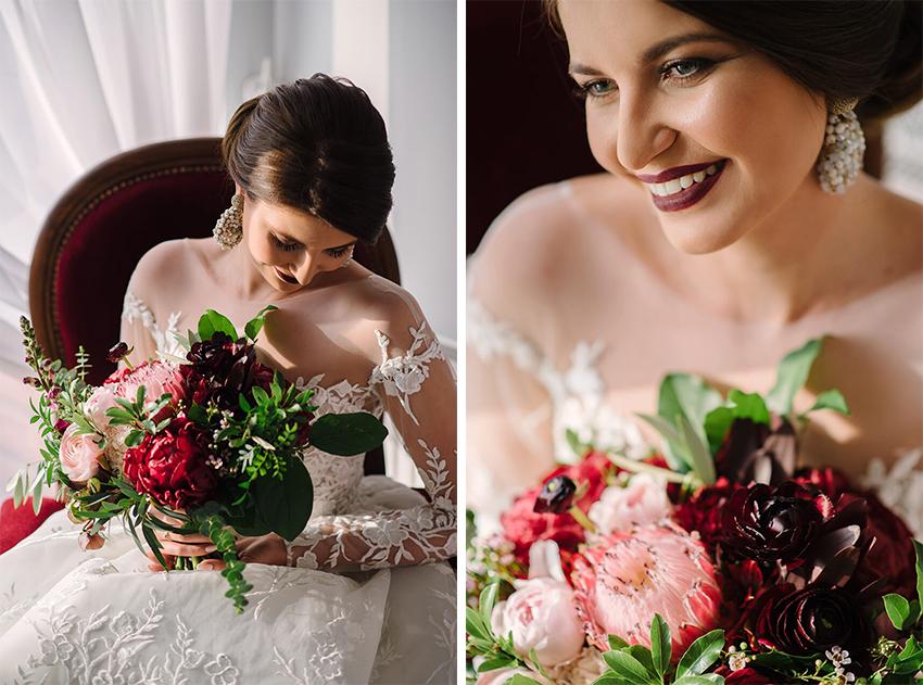 Marsala bukiet ślubny