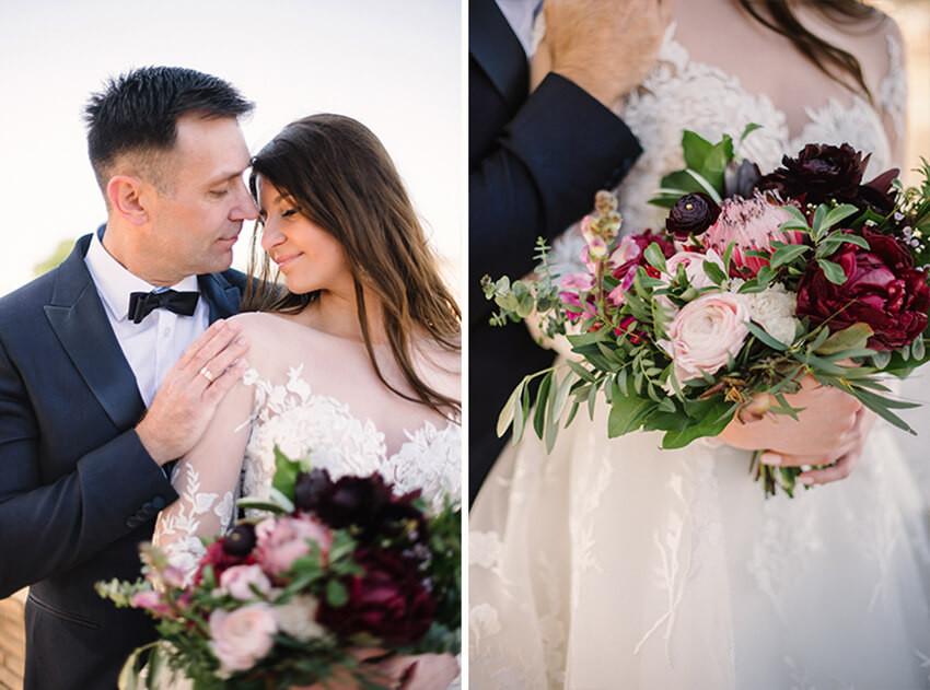 bukiet ślubny z listkami oliwnymi