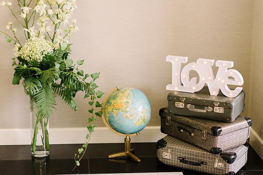 dekoracje ślubne z motywem podrózy