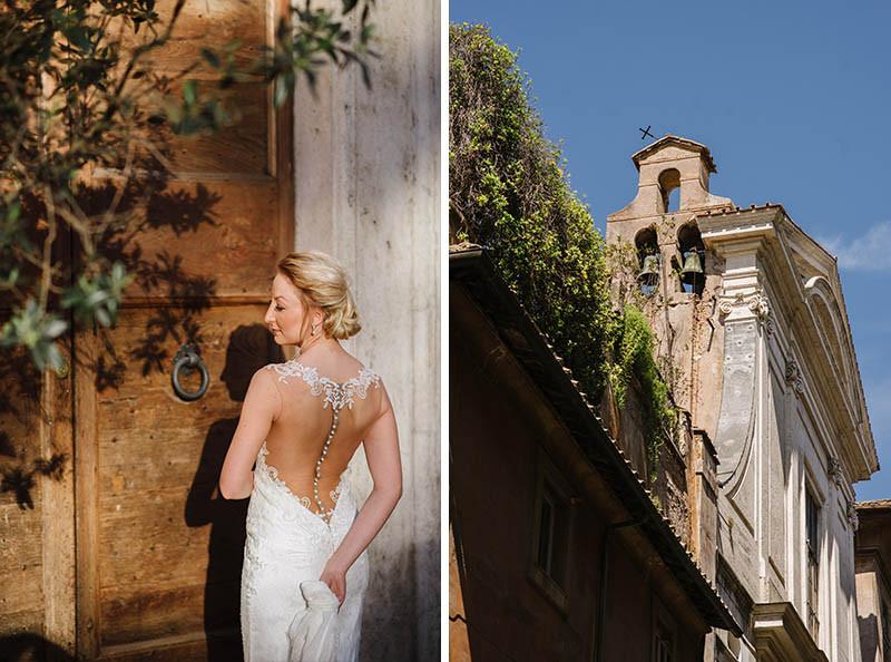 panna młoda w sukni ślubnej i kościół w Rzymie