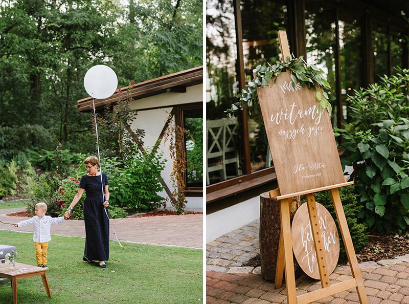 drewniana tablica witamy gości weselnych