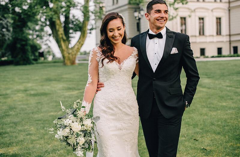 plener ślubny w Pałacu Tarce