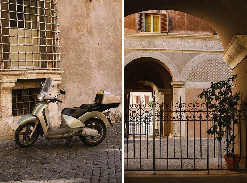 motocykl i brama w Rzymie