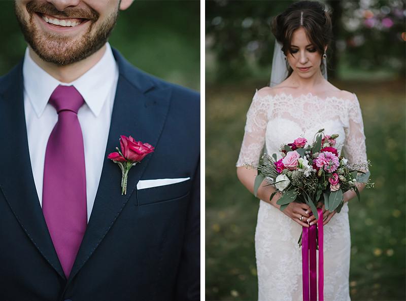 bukiet ślubny w kolorze fuksji