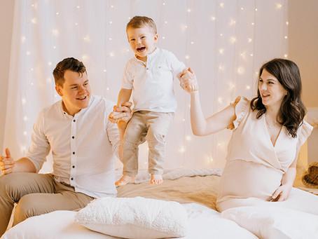 Zimowe boho | Rodzinna sesja zdjęciowa z brzuszkiem
