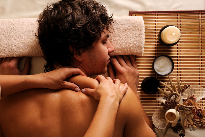 The young Man on spa treatment - recreat