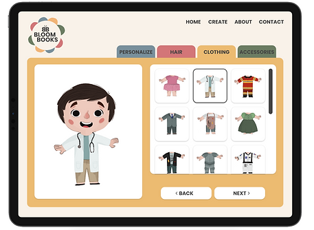 The clothing tab in Bloom Books that allows the user to pick different outfits based off of job occupations or fantasies.