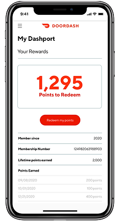 An image of the Dashport Rewards page showing the amount of points the user has to redeem and when they earned their points.