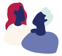 Image of a woman and man looking at each other.
