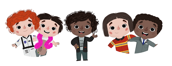 Multiple illustrations of children in different outfits like astronauts, artists, teachers, firefighters, and a president.