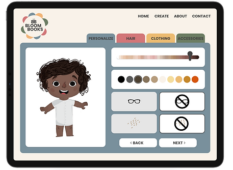 The personalization tab in Bloom Books that allows the user to pick a skin tone, hair color, glasses, and freckles.