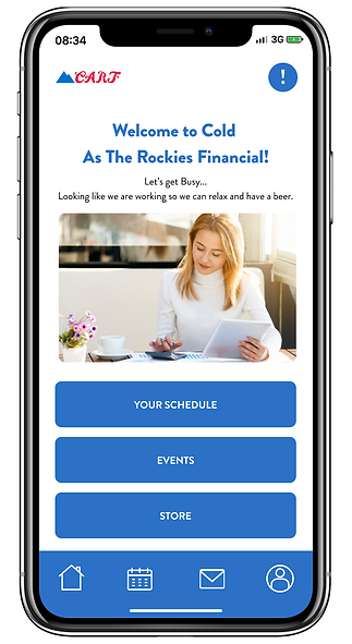 Image of CARF App Homepage. Welcome to Cold as the Rockies Financial! Let's get Busy.. Looking like we are working so we can relax and have a beer.