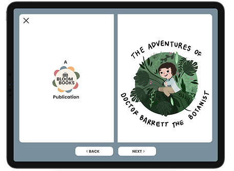 "An example of a Bloom Books Publication called ""The Adventure sof Doctor Barrett The Botanist"". This includes an image of a child swinging through the forest in a doctors uniform."
