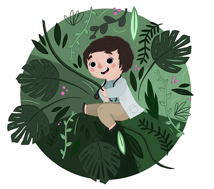 An illustratio of a child swinging on a vine through the forest in a doctors uniform.