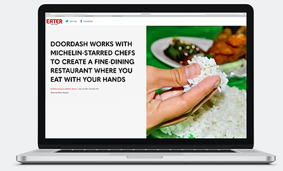 """Mockup of an article on a computer. Headlines read """"Doordash works with Michelin-starred chefs to create a fine-dining restaurant wher eyou eat with your hands""""."""