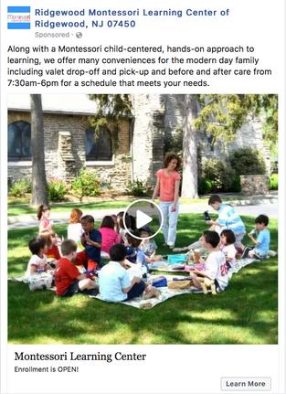 Ridgewood Montessori Facebook Ad