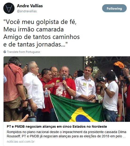 Andre Vallias denuncia o golpe PMDB e PT
