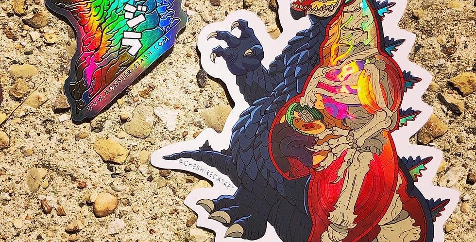 "Giant Godzilla Cutaway 7""x7"" Vinyl Sticker"