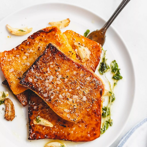 Butternut Squash Steaks,Pork Chops with Apple Cider Pan Gravy