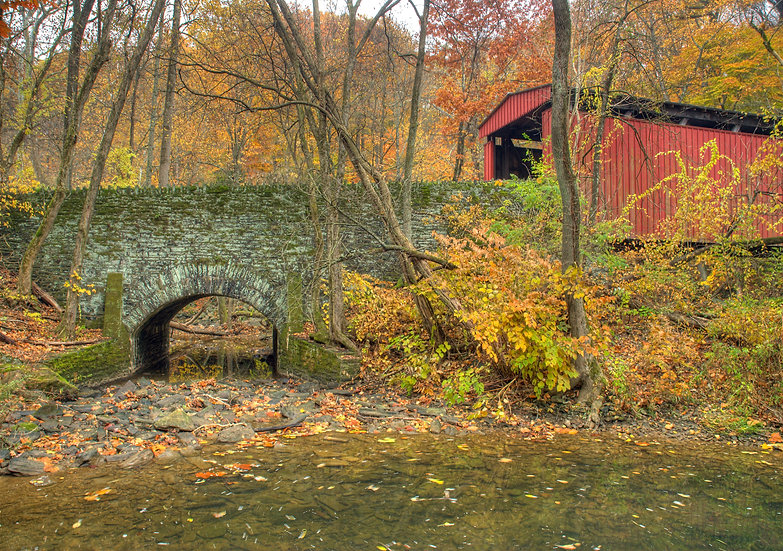 THOMAS MILL COVERED BRIDGE IN AUTUMN PHILA., PA img#100399