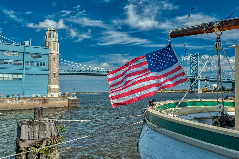 Benjamin Franklin Bridge and the Gazela in Philadelphia, PA
