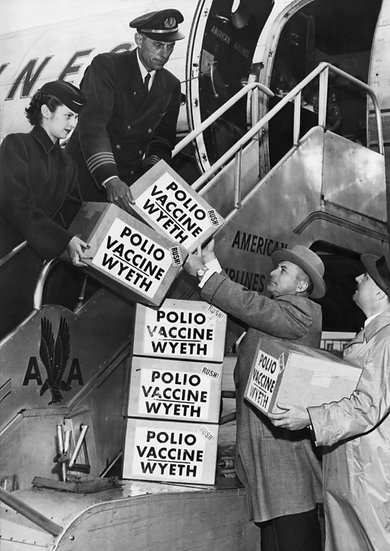 WYETH SHIPS THE FIRST BATCH OF THE SALK ANTI-POLIO VACCINE  ON APRIL 19, 1955