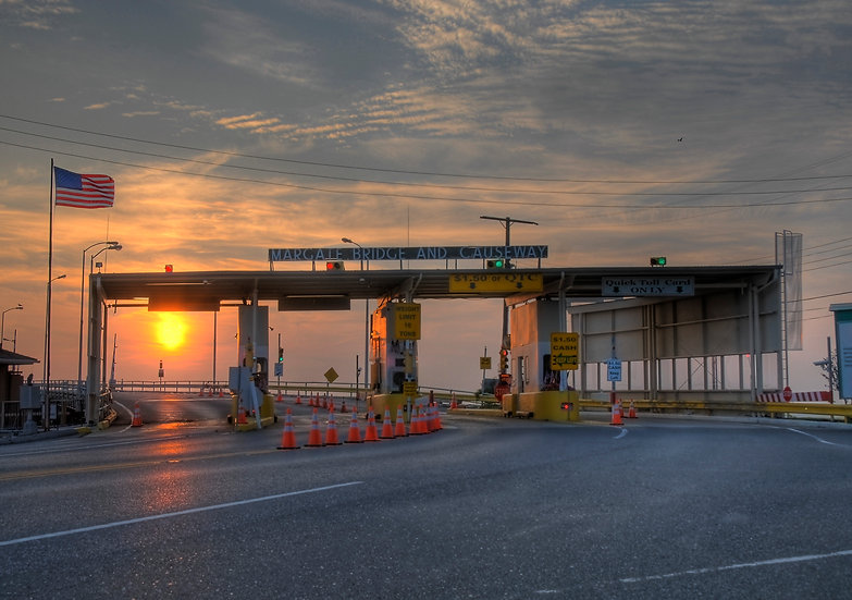 Margate Bridge Toll Booth at Sunset, Margate City, NJ