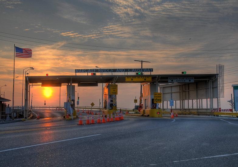 Margate Bridge Toll Booth at Sunset, Margate City, NJ