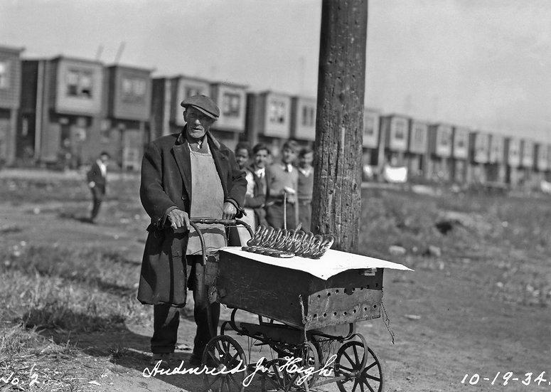 Pretzel vender at Audrin Reid Jr. High Phila. October, 1934. Img.#100522.