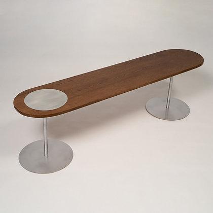 ספסל נקודה עץ/אלומיניום